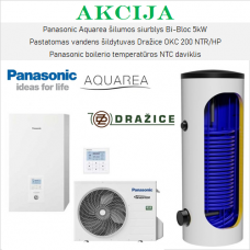 Akcijinis Panasonic šilumos siurblio 5kW ir vandens šildytuvo komplektas