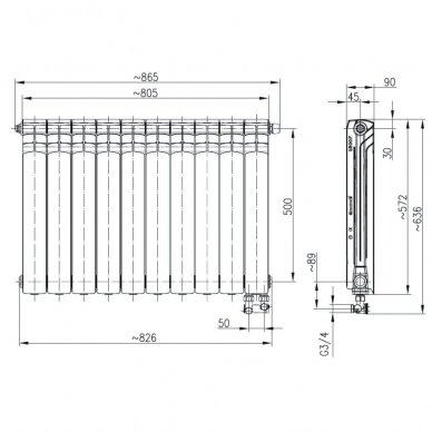 Aliumininis radiatorius apatinio pajungimo GAVIA 50/D 10 sekc. 4
