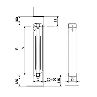 Aliumininis radiatorius Fondital Exclusivo 500, 8 sekcijos 3