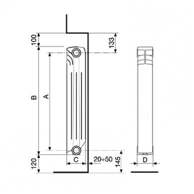 Aliumininis radiatorius Fondital Exclusivo 350, 10 sekcijų 2