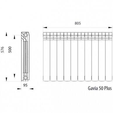 Aliumininis radiatorius GAVIA 50 Plus 10 sekc. 2