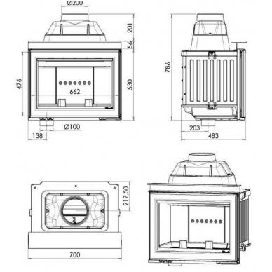 Chazelles židinio ugniakuras HP700 L 3