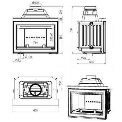 Chazelles židinio ugniakuras HP800 L 2