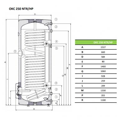 Vandens šildytuvas Dražice OKC 250 NTR/HP 2