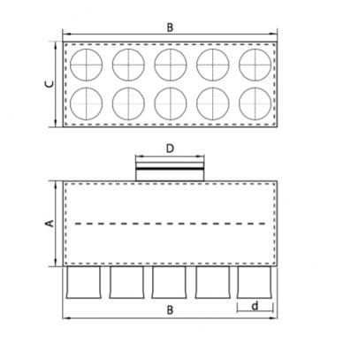 Oro paskirstymo dėžė LOK-H-160-75X10 2
