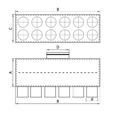 Oro paskirstymo dėžė LOK-H-160-75X12 2