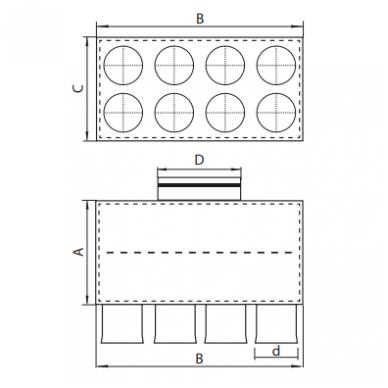 Oro paskirstymo dėžė LOK-H-160-75X8 2