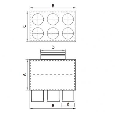 Oro paskirstymo dėžė LOK-H-160-75X6 2