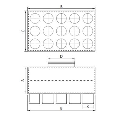 Oro paskirstymo dėžė LOK-H-200-75X15 2