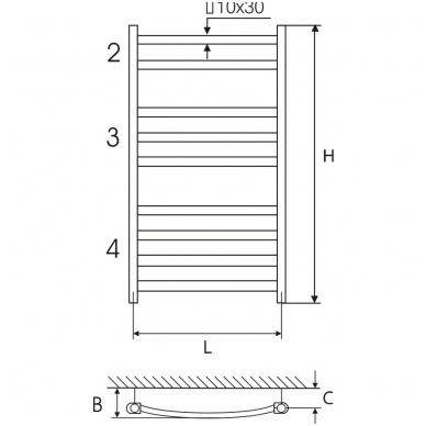 Plieninis chromuotas rankšluosčių džiovintuvas Elonika EP 50x118 KL 2