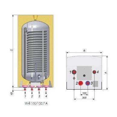 Vandens šildytuvas Nibe Biawar Quattro 150 litrų, pakabinamas 2